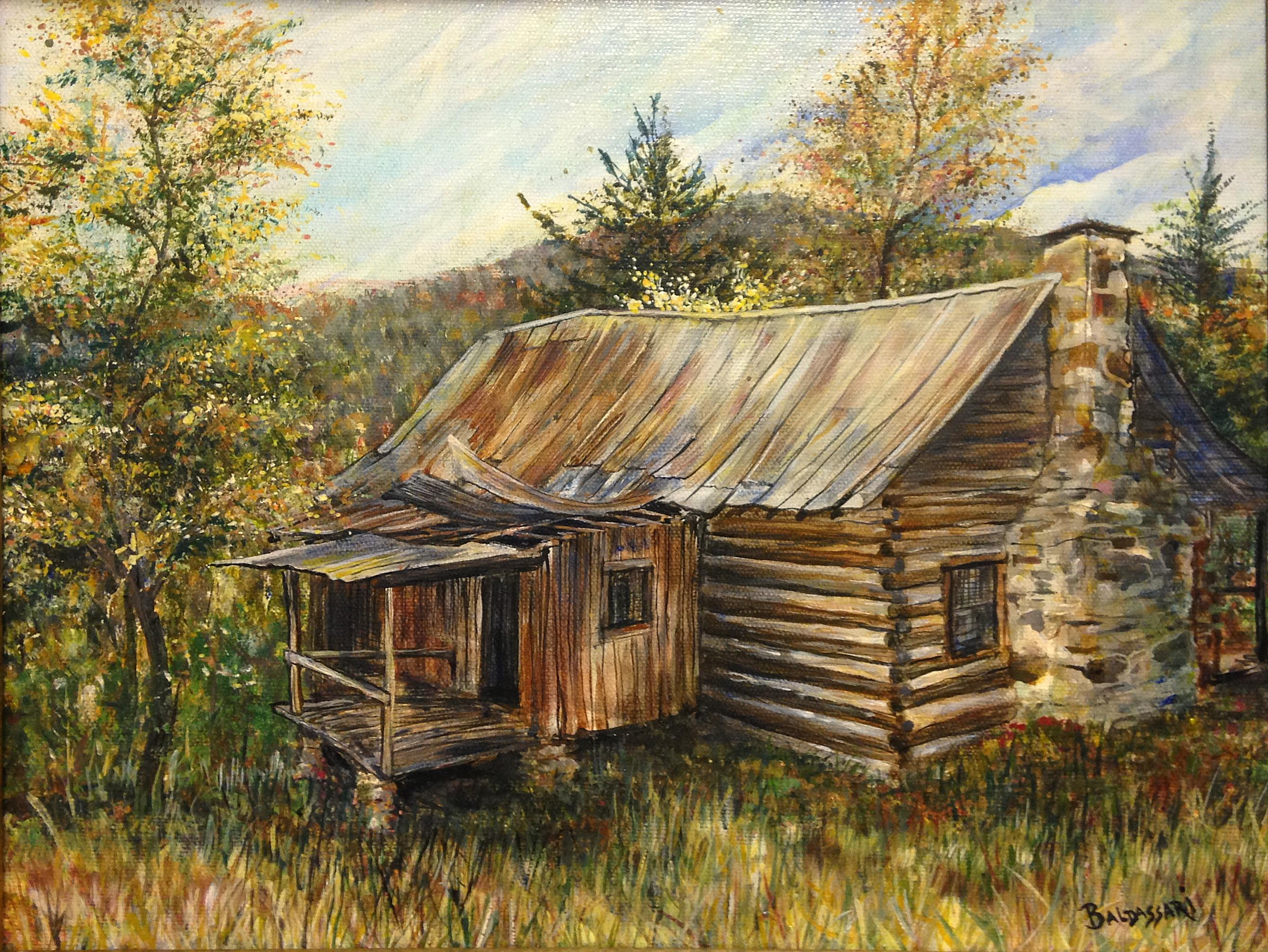 July 2015 scotts paintings for Log cabin painting